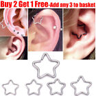 Silver Surgical Steel Daith Star Ring Hoop Daith Helix Cartilage Tragus Piercing
