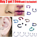 Surgical Steel Horseshoe Nose Lip Ear Teeth Piercing Hoop Ring Daith Tragus Ring