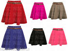 Ladies Womens New Belted Flared Plain Mini Skater Skirt
