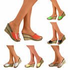 Ladies Platform Wedge Block High Heels Open Toe Sandals Slip On Shoes Slides
