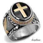 MEN'S BLACK & SILVER STAINLESS STEEL CHRISTIAN HOLY CROSS RING SIZE 8-14