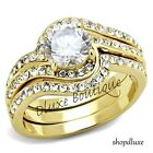 2.95 CT ROUND CUT CZ 14K GOLD PLATED STAINLESS STEEL WOMEN'S WEDDING RING SET