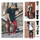 Men Basic T SHIRT Extended Long Elongated Fashion Casual Crew Neck Hipster Tee image
