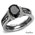 2.50 CT OVAL CUT CZ BLACK STAINLESS STEEL WEDDING RING SET WOMEN'S SIZE 5-10