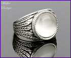 Unisex Vintage Antique Silver Ring w/ White Pearl Cats-eye Stone & Leaf Etching