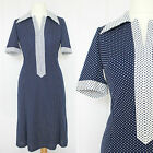 VINTAGE 1960S 70S NAVY NAUTICAL POLKA DOT RETRO MOD SCOOTER GOGO MIDI DRESS 12