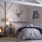 NAVY BLUE GREY TARTAN CHECK STAG DEER ANIMAL COTTON RICH QUILT DUVET COVER