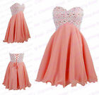Strapless A Line Coral Chiffon Lace Short Homecoming Dress Prom Party Dress