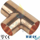 Copper End Feed Fittings - Equal Tee 15mm or 22mm CE - WRAS - EN1254-1 Approved