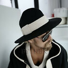 ByTher Men's Flat Rope Decoration High Quality Wool Felt Mountain Fedora Hat UK