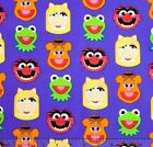 SESAME STREET KERMIT MISS PIGGY FACES SEWING CRAFT QUILT FABRIC Free Oz Post