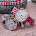 Flower Floral Elastic Steel Band Watch Womens Quartz Casual Geneva Wristwatches