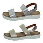 Womens Girls Summer Strappy Sandals Metallic Flatfrom Mule Faux Leather B715131