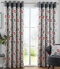 Capeland Designer Heavy Cotton Eyelet Lined Curtains, Silver Grey Charcoal Red