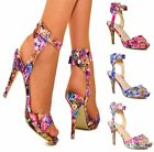 WOMENS BARELY THERE FLORAL PRINT  HIGH STILETTO HEEL STRAPPY SHOES SANDALS 3-8