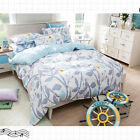 Spring Double Queen King Size Bed Set Pillowcases Quilt Duvet Cover Blue Leaves