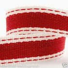 Full Roll 10m Sadle Stitch Cotton Twill Ribbon - Red - Crafts - Sewing