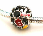 925 Sterling Silver Mickey Mania Mouse Fit European Bead Charm Bracelet