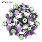 20PCS/Lot Vocheng 18mm Flower Button Hand Painted Purple Snap Jewelry Vn-1125*20