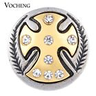 20PCS/Lot Wholesale Vocheng Faith Button Gold Plating 18mm Corss Snap Vn-1126*20