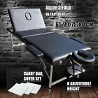 Portable Aluminium Massage Table 3 Fold Bed Therapy Waxing 70cm/75cm/80cm White