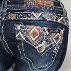 Miss Me Cabin Fever Diamonds Boot Cut Relaxed Midrise Stretch Jeans XP8442B2 NEW