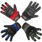Leather Motorcycle Motorbike Gloves - Mesh with knuckle Protection - S-3XL