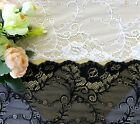 18 cm width Exquisite White/ Black Stretch Lace Trim