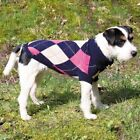 TRIXIE DOG JUMPER ARGYLE EDMONTON extra small to medium sizes PINK / BLUE