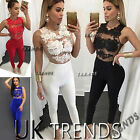 UK Womens 4 Colour Evening Party Playsuit Ladies Lace Long Jumpsuit Size 8 - 14