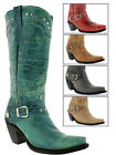 Womens Tall Cowboy Boots with Buckle Vintage Genuine Leather Snip Toe