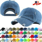 Solid Distressed Vintage Cotton Polo Style Baseball Ball Cap Hat 100% Cotton NEW