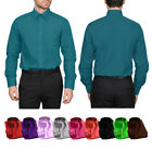 Dress Shirts Mens Regular Fit Oxford Long Sleeve One Pocket Solid Color Shirt