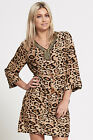 Ladies super soft v neck beaded brown leopard print mini short shirt dress UK 8-