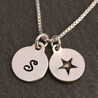 Sterling Silver Personalised Bespoke Initial Star Disc Charms Pendant Necklace