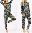 WOMEN LADIES CAMOUFLAGE CAMO TOP AND BOTTOM LOUNGE SET TRACKSUIT PLUS SIZE 8-26