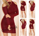New Bodycon Jumper Long Sleeve Jersey Knit Polo Neck Off Shoulder Mini Dress