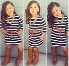 Baby Girls Striped Long Sleeve Dress + Belt Set Kids Casual Clothes Outfits