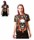 Gothic Flaming Skull T - Shirt With Rivets Size M, L