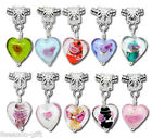 Gift Wholesale Mixed Glass Heart Dangle Beads Fit Charm Bracelet B09908