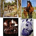 "Brand New Horse 79"" x 96"" Super Plush Faux Mink Blanket - in 4 Styles"