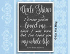 AUNTIE UNCLE GODMOTHER ANY NAME..WE'VE LOVED YOU OUR WHOLE LIFE Design Print***