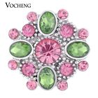 20PCS/Lot Snap Charms Blossom Vocheng 18mm 3 Colors Crystal Button Vn-1025*20
