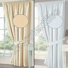 """JACQUARD CHECK COTTON RICH 3"""" FULLY LINED PAIR READY MADE CURTAINS CREAM WHITE"""