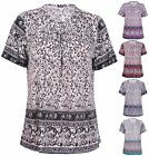 Womens Plus Size Paisley Border Print Ladies Short Sleeve Bead Long T-Shirt Top