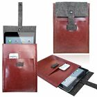 BROWN LEATHER wool FELT Vertical Sleeve, Case, cover skin for various tablets