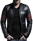Long Sleeve chinesh Collar Slim Fit Lambskin Leather Jacket For Men