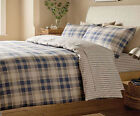 Tartan Check 100% Thermal Warm Brushed Cotton Flannelette Duvet Cover, Navy Blue