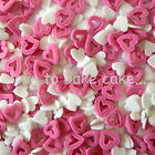 PINK & WHITE ASSORTED HEART SPRINKLES -Edible Sugar Cupcake Cake Decoration