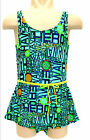 Girls Beachwear/ Swimwear, Green Artistic, Bottom attached, S317, New